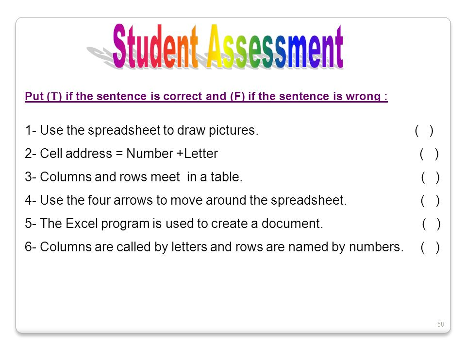Student Assessment 1- Use the spreadsheet to draw pictures. ( )