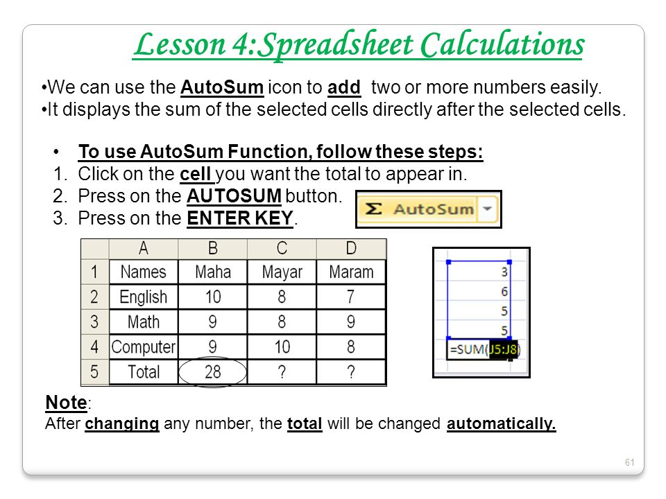 Lesson 4:Spreadsheet Calculations
