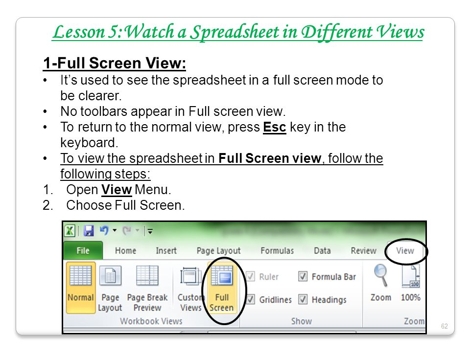 Lesson 5:Watch a Spreadsheet in Different Views