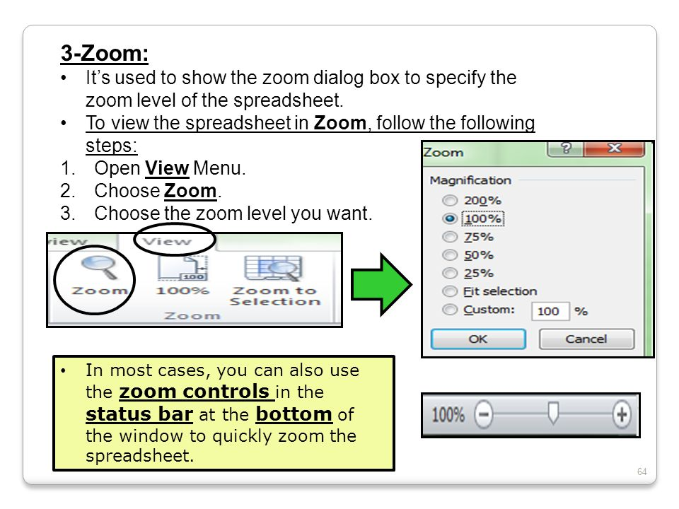 3-Zoom: It's used to show the zoom dialog box to specify the zoom level of the spreadsheet.