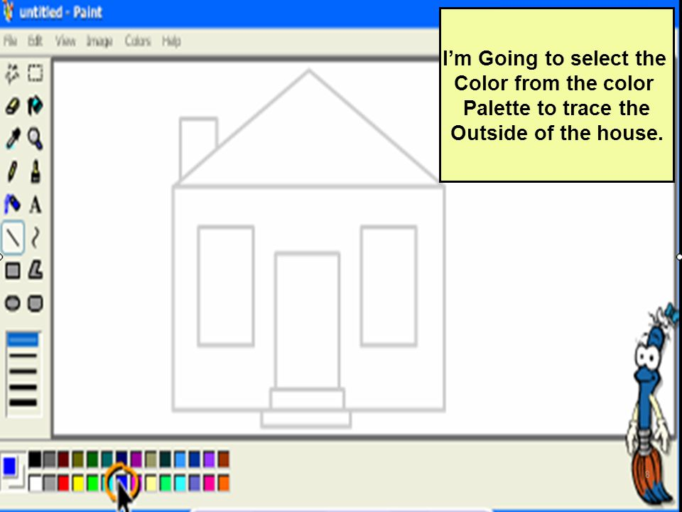 I'm Going to select the Color from the color Palette to trace the Outside of the house.