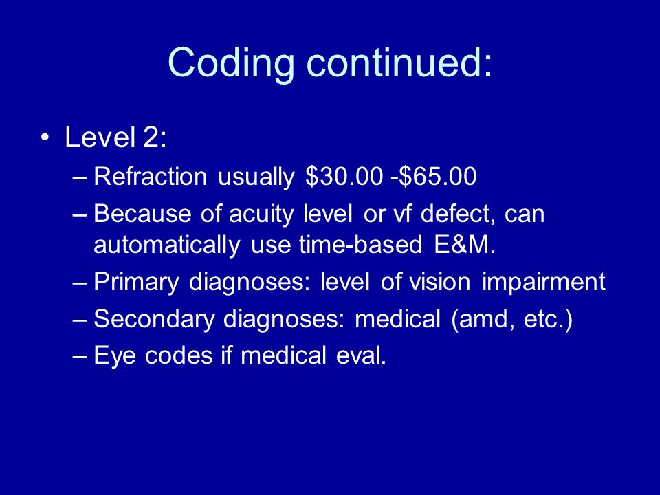 Coding continued: Level 2: Refraction usually $30.00 -$65.00