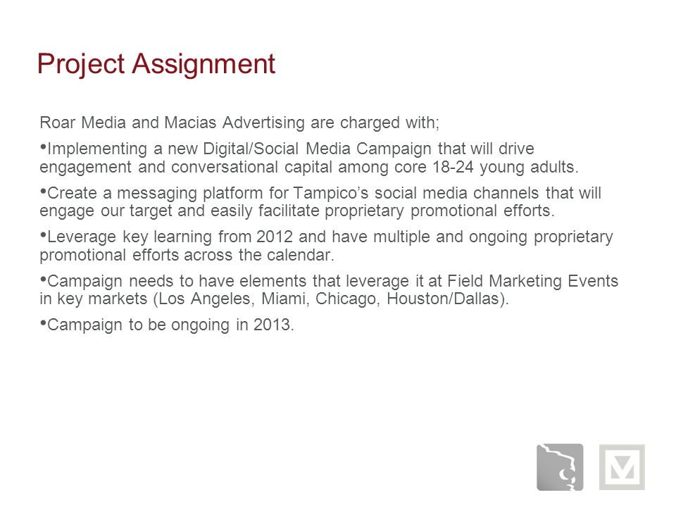 Project Assignment Roar Media and Macias Advertising are charged with;