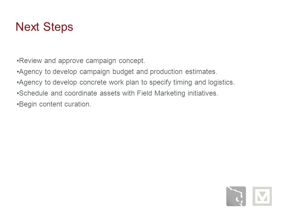 Next Steps Review and approve campaign concept.