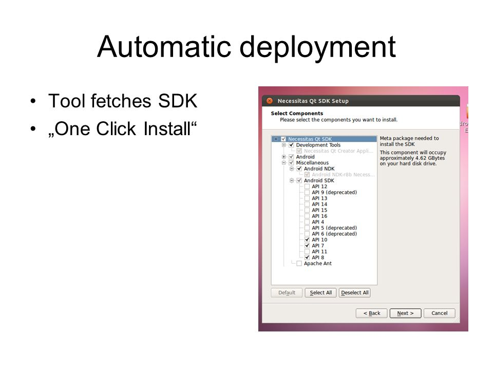 "Automatic deployment Tool fetches SDK ""One Click Install"