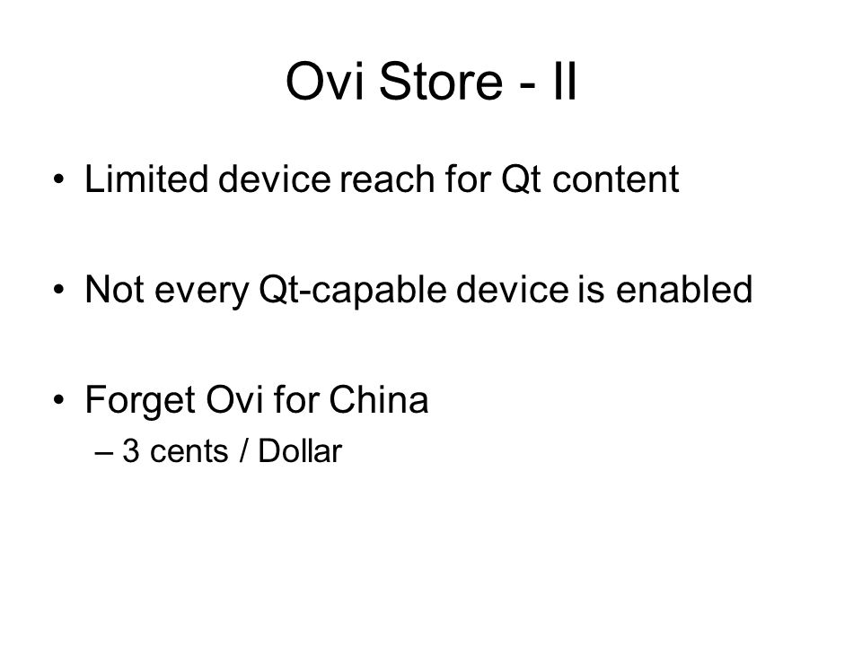 Ovi Store - II Limited device reach for Qt content