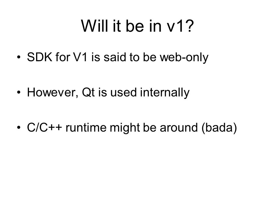 Will it be in v1 SDK for V1 is said to be web-only