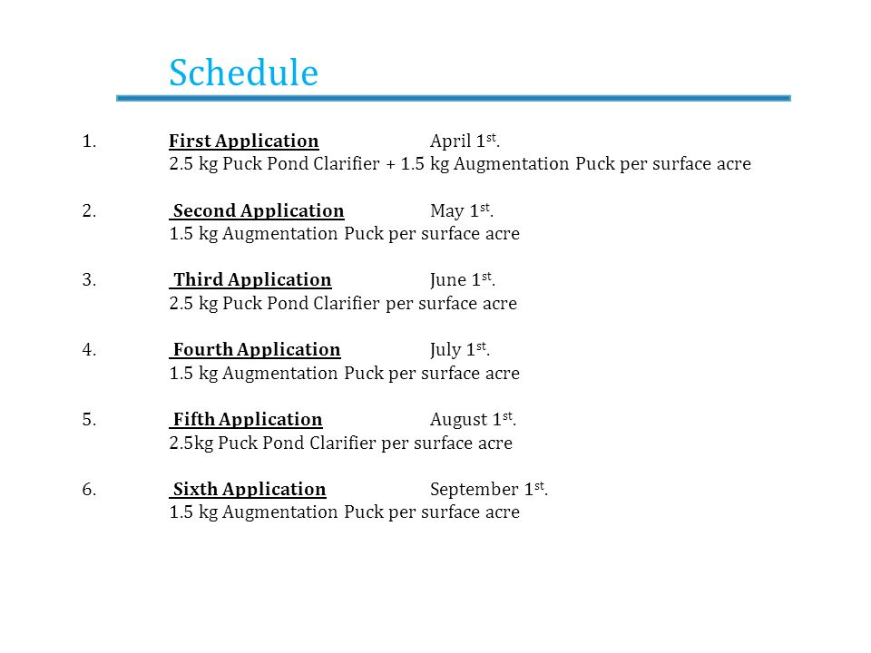 Schedule 1. First Application April 1st.