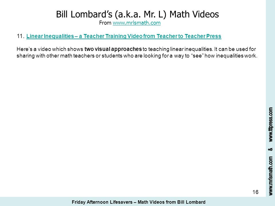 Bill Lombard's (a.k.a. Mr. L) Math Videos