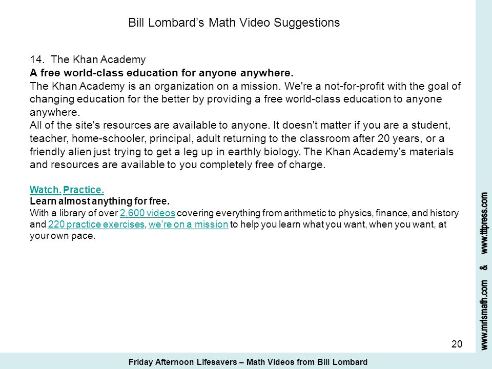 Bill Lombard's Math Video Suggestions 14. The Khan Academy