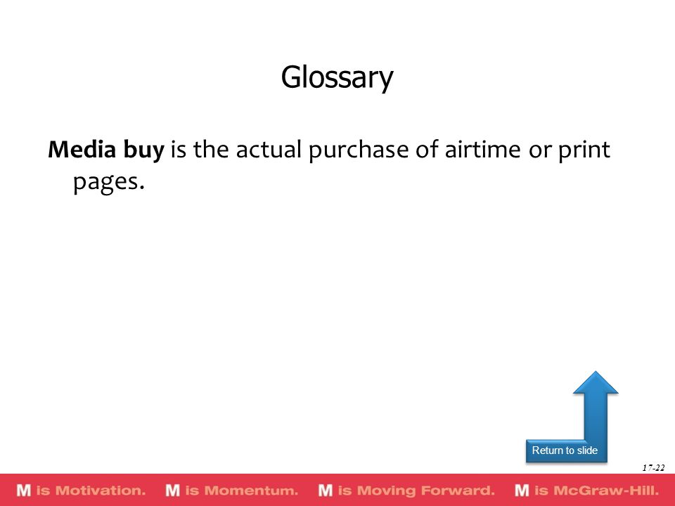 Glossary Media buy is the actual purchase of airtime or print pages.