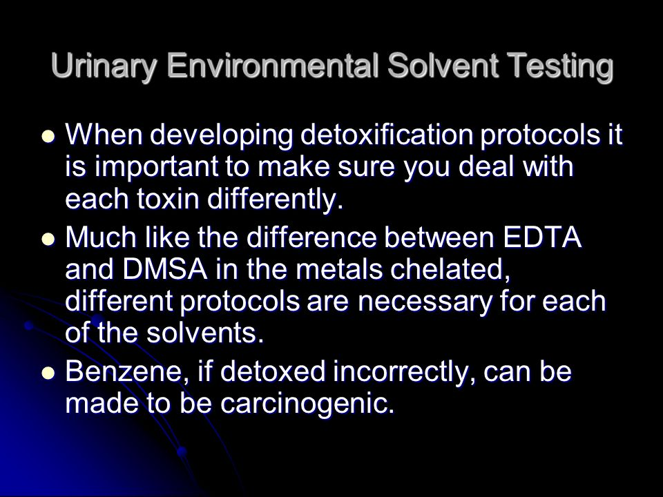 Urinary Environmental Solvent Testing