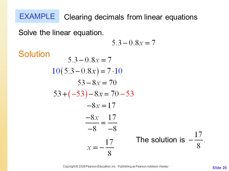 Solution EXAMPLE Clearing decimals from linear equations