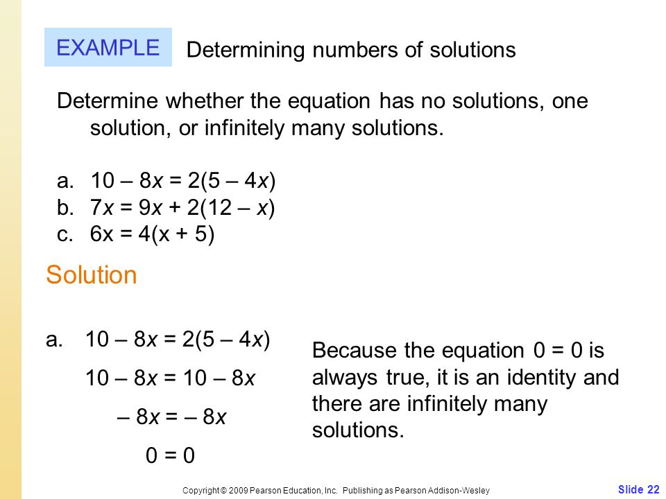 Solution EXAMPLE Determining numbers of solutions