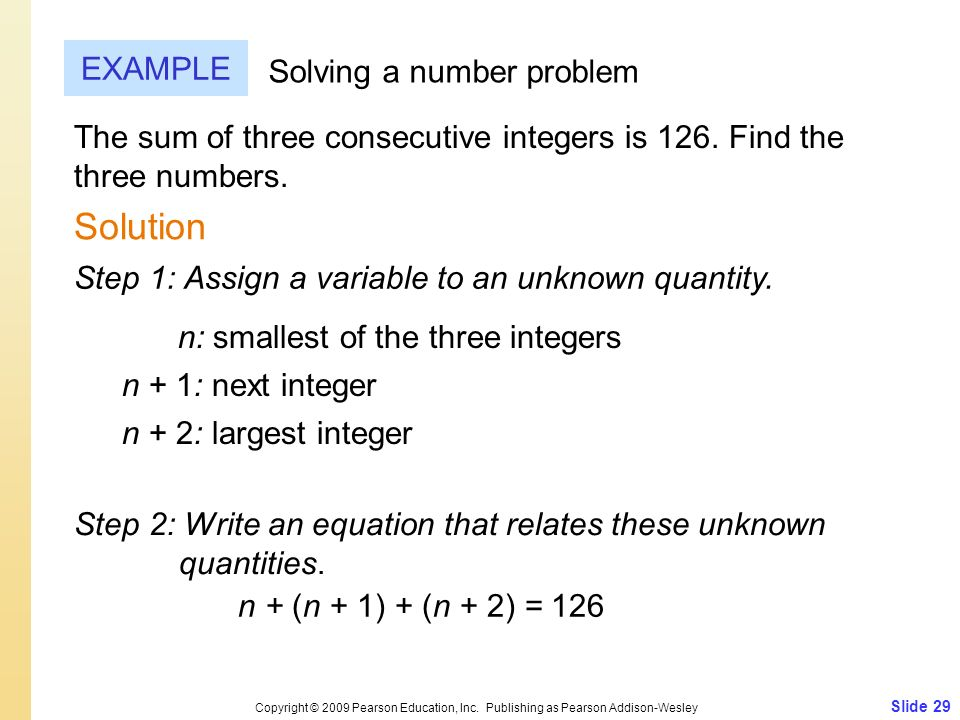 Solution EXAMPLE Solving a number problem