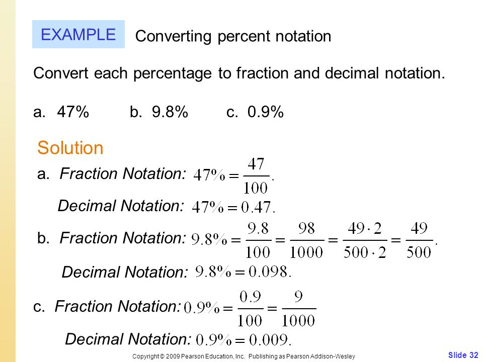 Solution EXAMPLE Converting percent notation