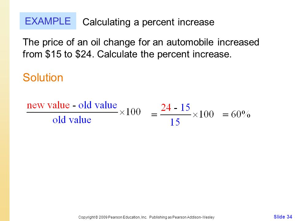 Solution EXAMPLE Calculating a percent increase