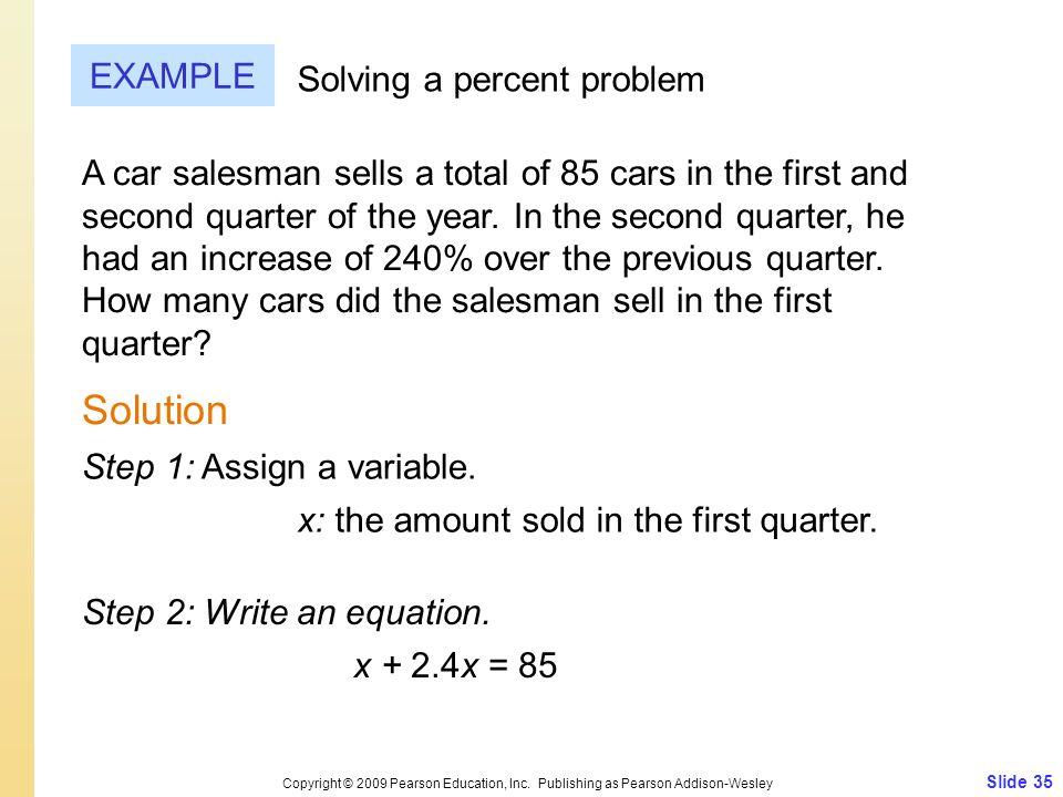 Solution EXAMPLE Solving a percent problem
