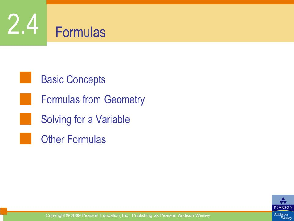 2.4 Formulas Basic Concepts Formulas from Geometry