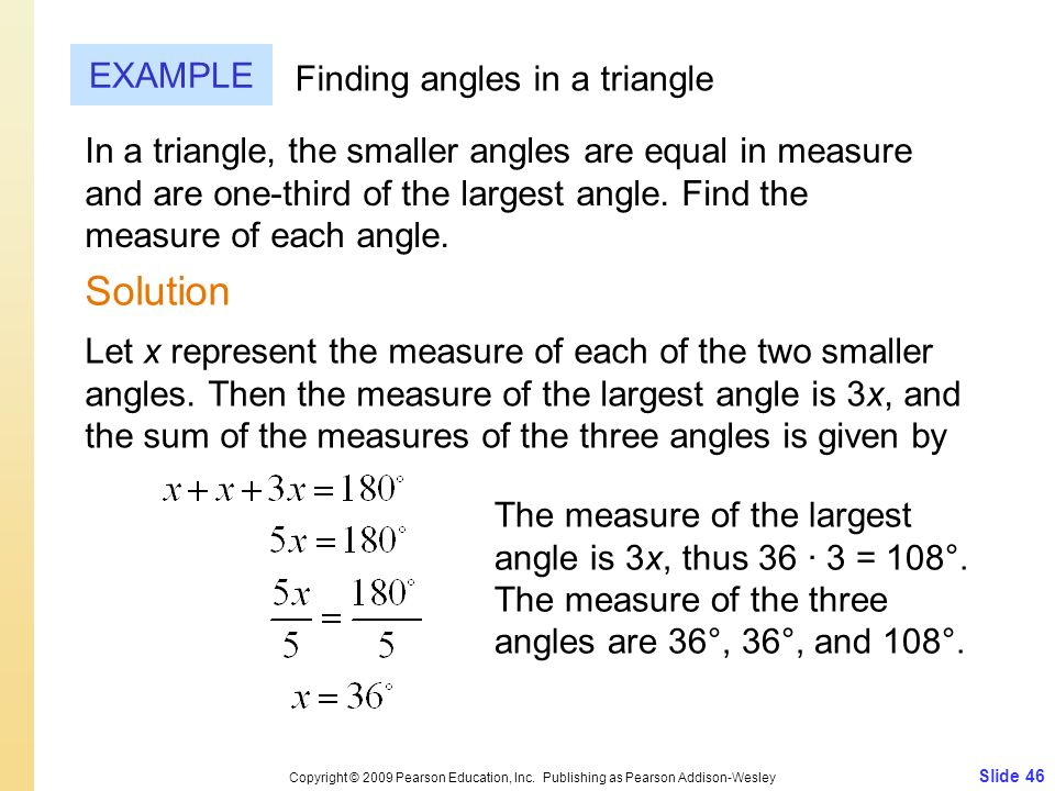 Solution EXAMPLE Finding angles in a triangle