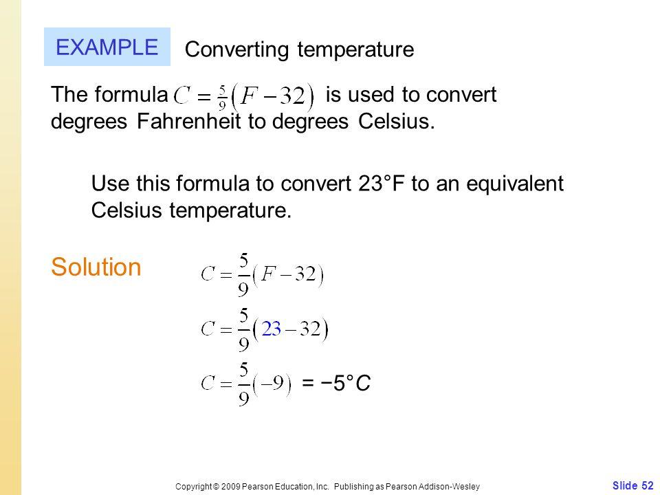 Solution EXAMPLE Converting temperature
