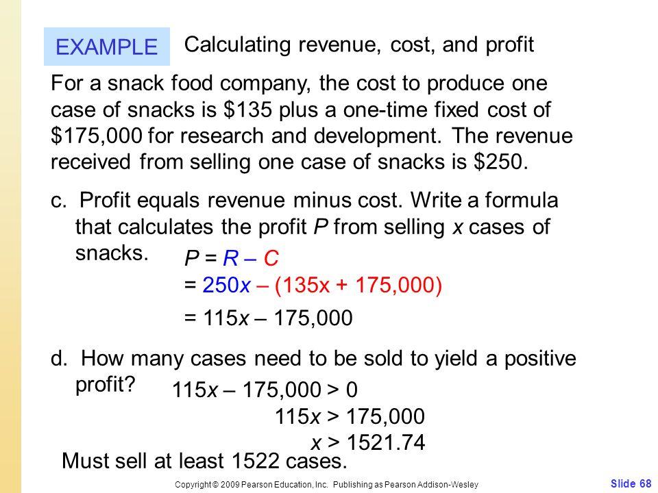 Calculating revenue, cost, and profit