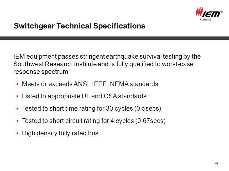 Switchgear Technical Specifications