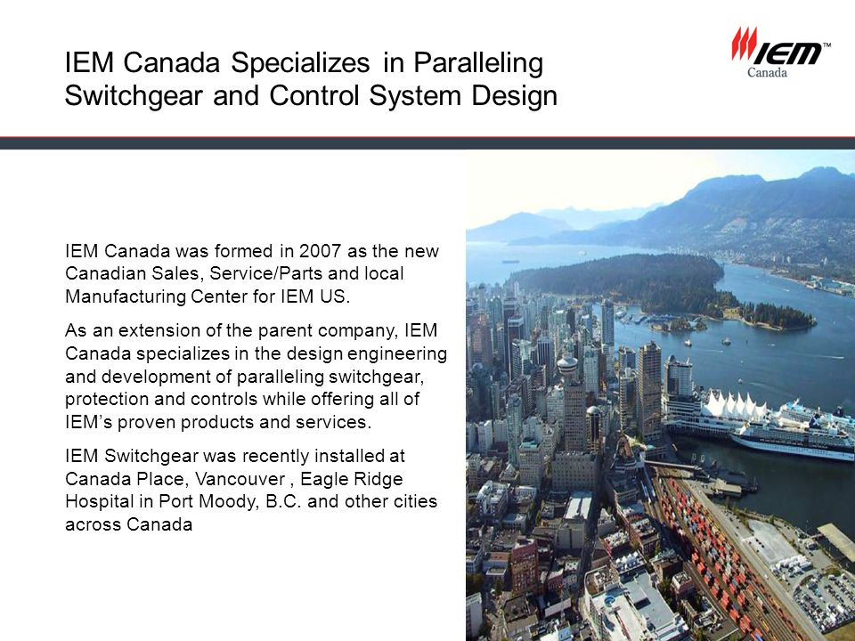 IEM Canada Specializes in Paralleling Switchgear and Control System Design