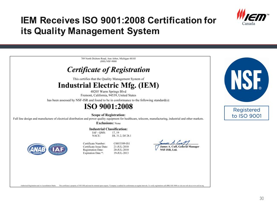 IEM Receives ISO 9001:2008 Certification for its Quality Management System