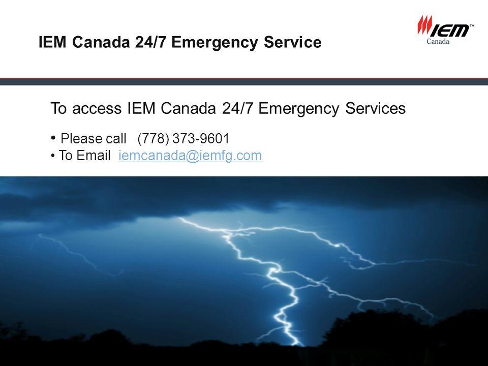IEM Canada 24/7 Emergency Service