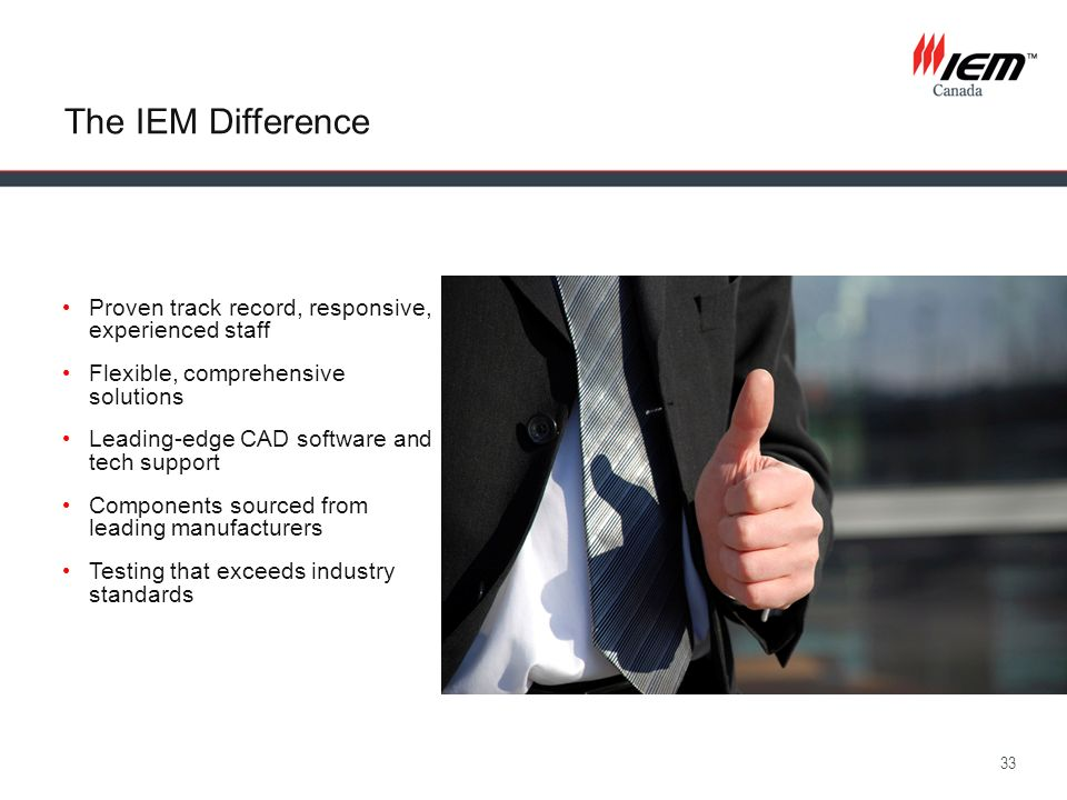 The IEM Difference Proven track record, responsive, experienced staff