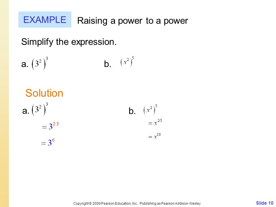 Solution EXAMPLE Raising a power to a power Simplify the expression.