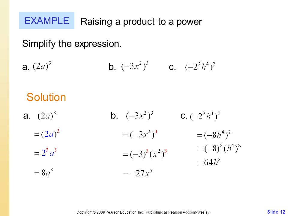 Solution EXAMPLE Raising a product to a power Simplify the expression.