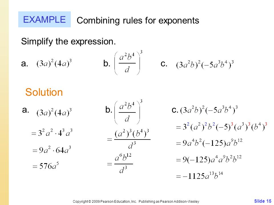 Solution EXAMPLE Combining rules for exponents