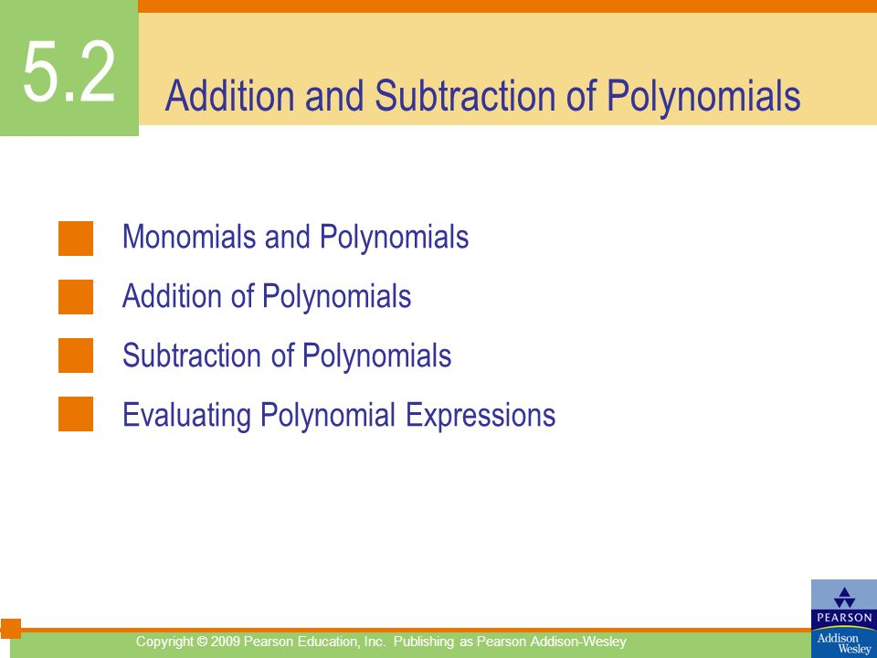 Addition and Subtraction of Polynomials