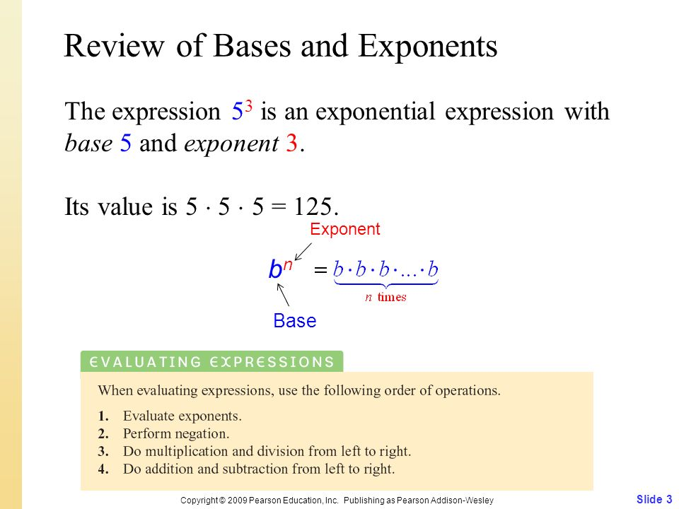 Review of Bases and Exponents
