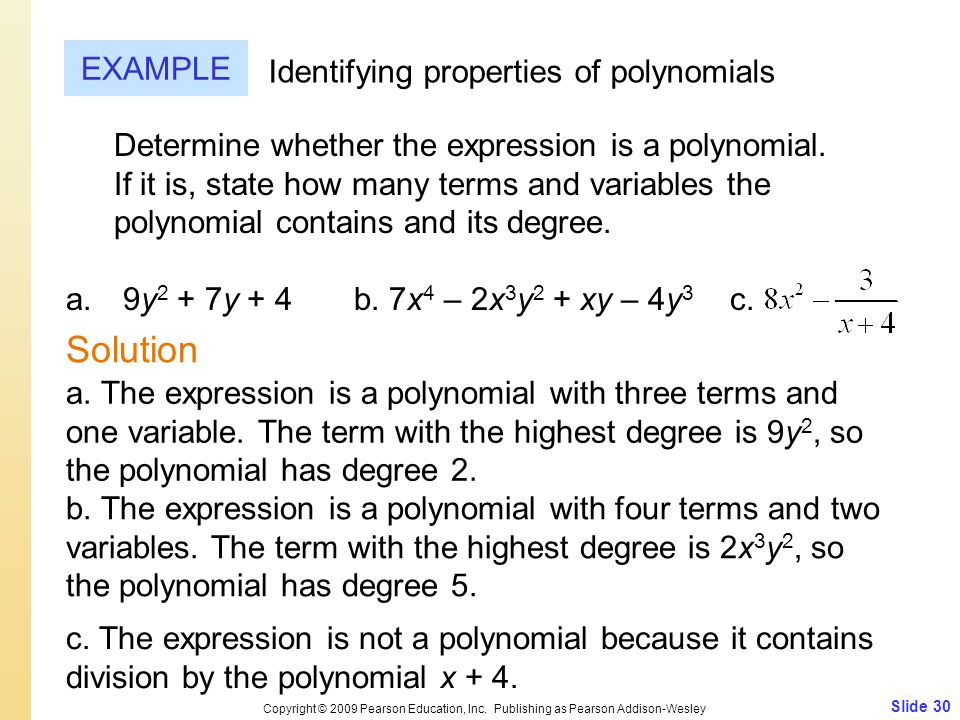 Solution EXAMPLE Identifying properties of polynomials