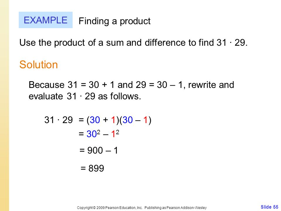 Solution EXAMPLE Finding a product