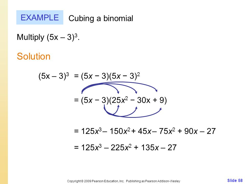 Solution EXAMPLE Cubing a binomial Multiply (5x – 3)3. (5x – 3)3