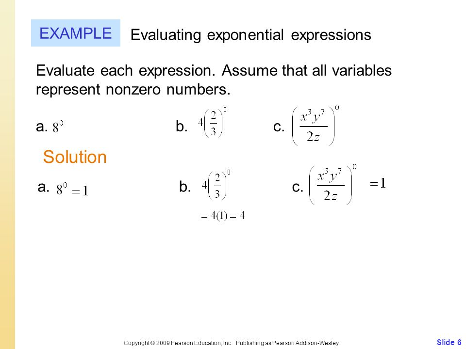 Solution EXAMPLE Evaluating exponential expressions