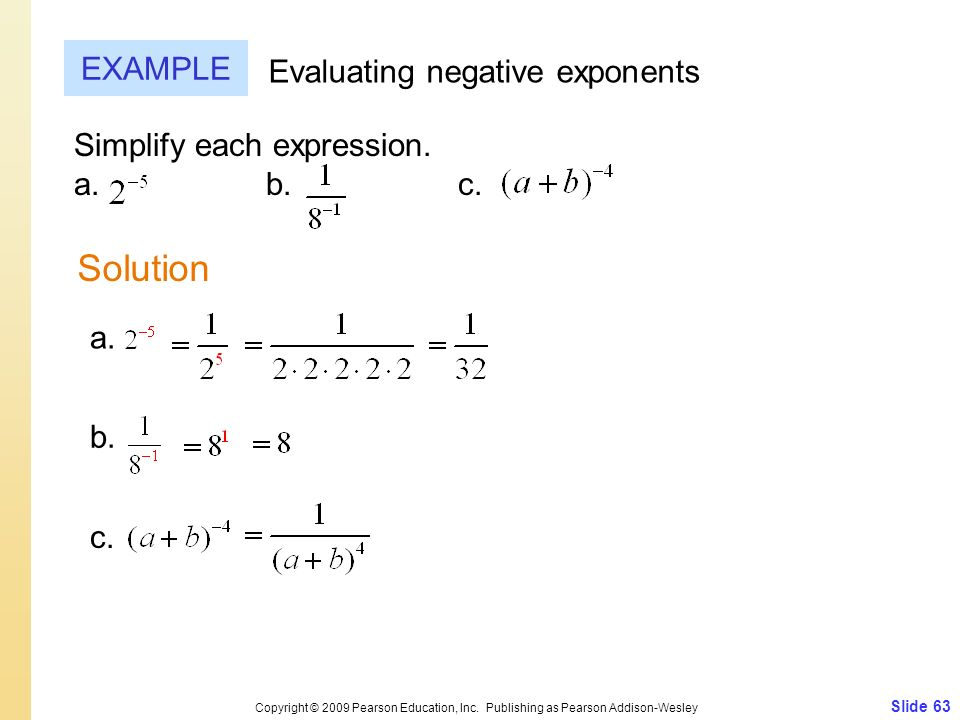 Solution EXAMPLE Evaluating negative exponents