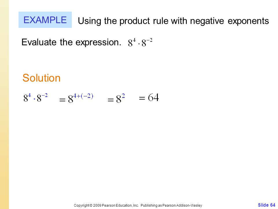 Solution EXAMPLE Using the product rule with negative exponents
