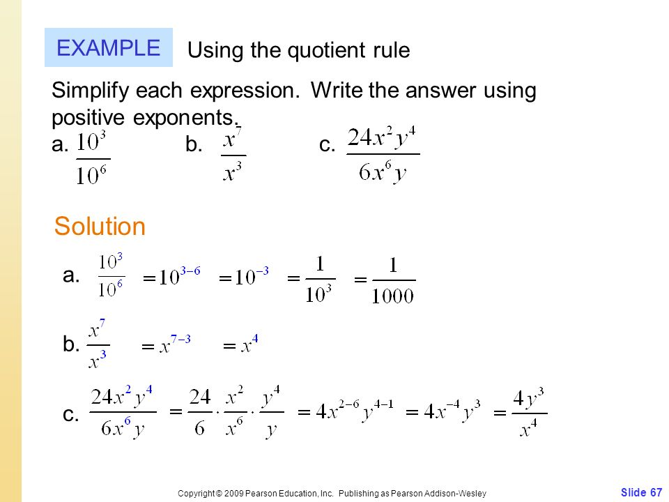 Solution EXAMPLE Using the quotient rule