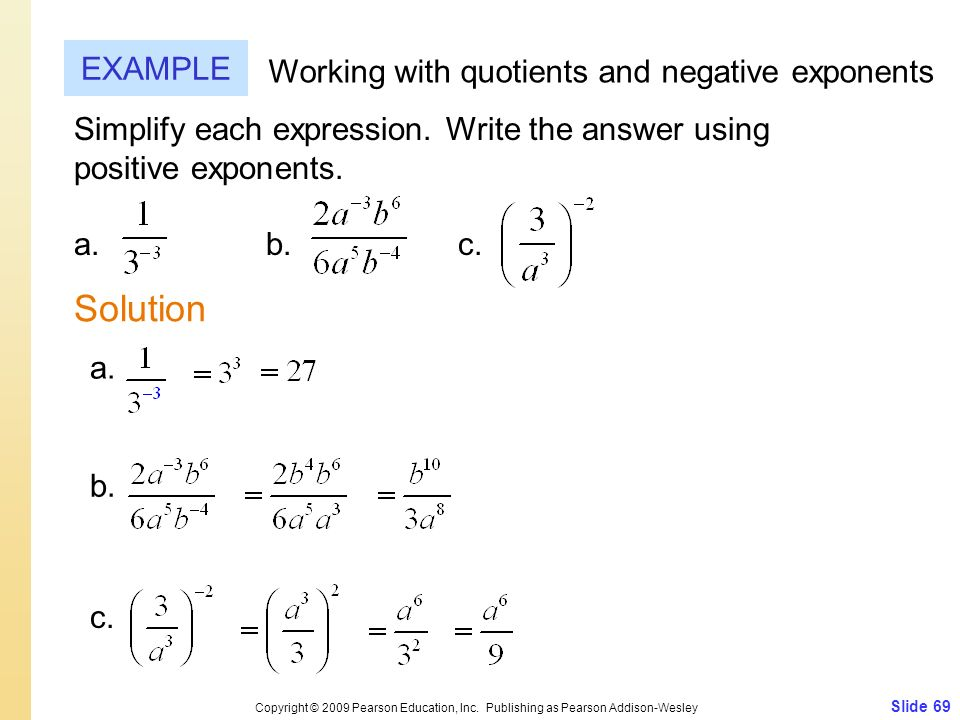 Solution EXAMPLE Working with quotients and negative exponents