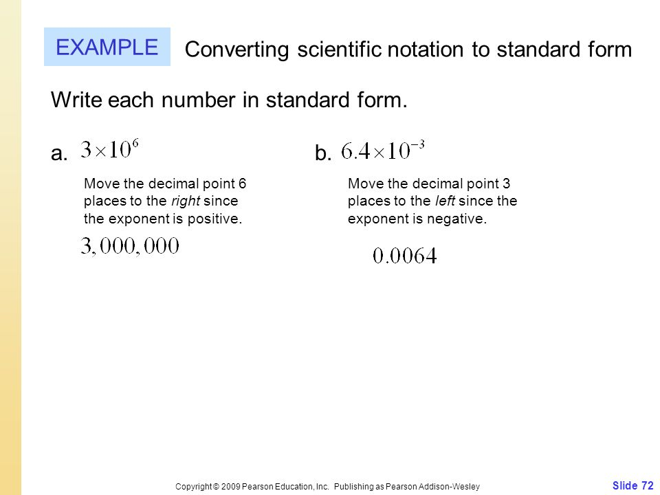 Converting scientific notation to standard form