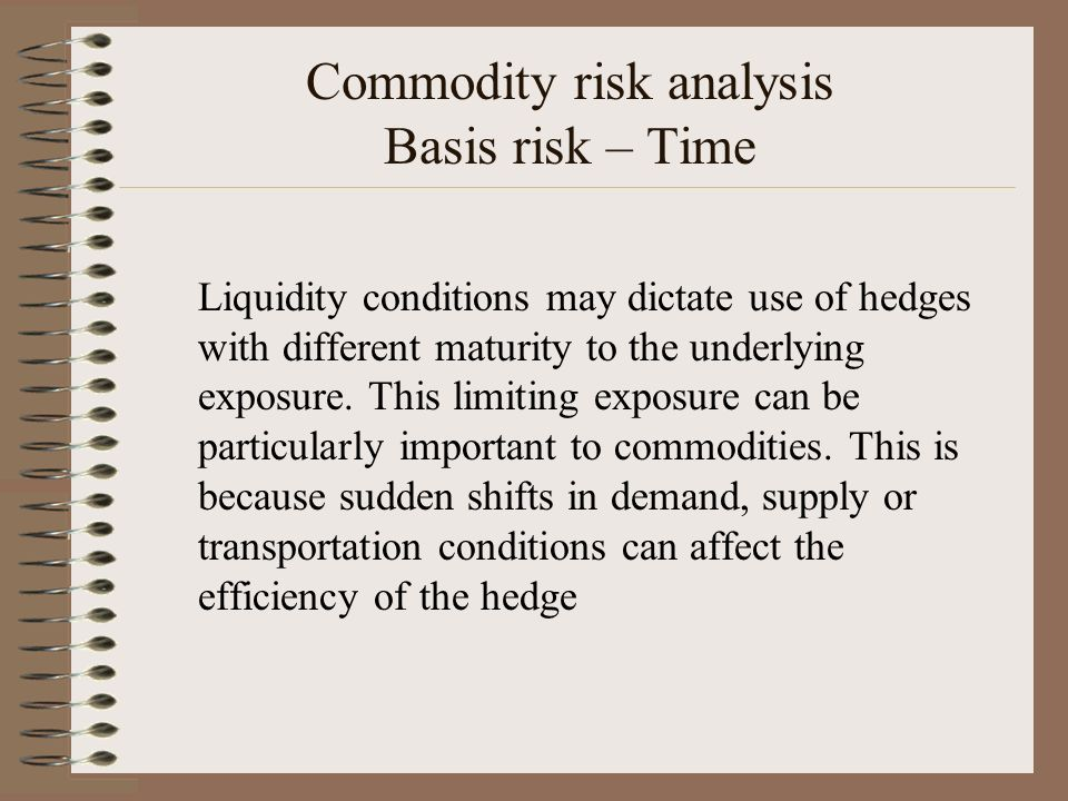 Commodity risk analysis Basis risk – Time