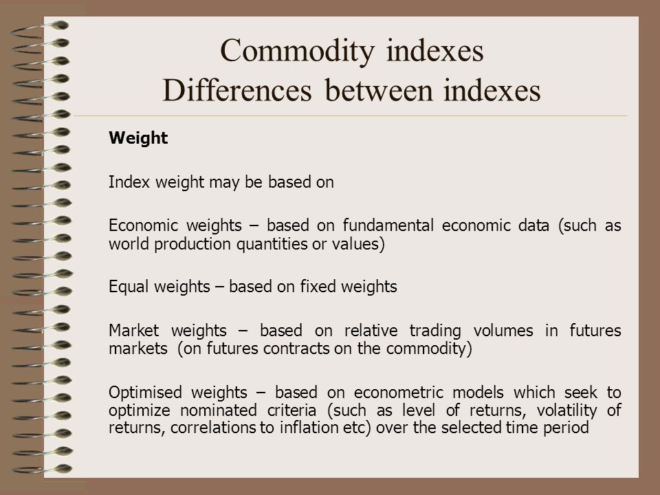 Commodity indexes Differences between indexes