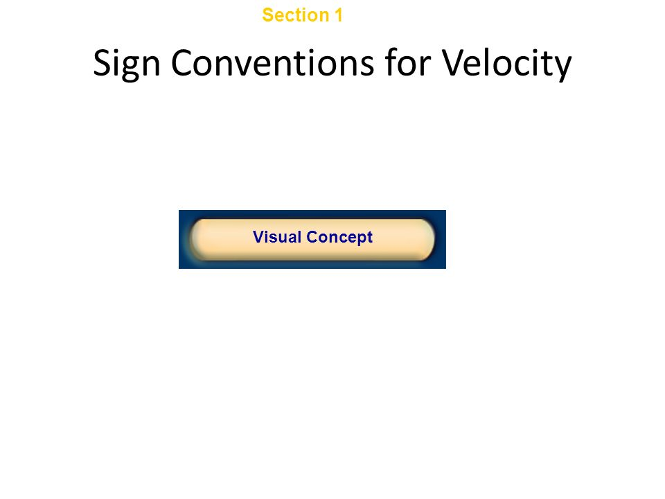 Sign Conventions for Velocity