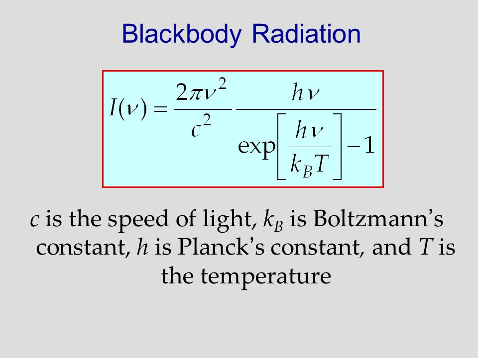 Blackbody Radiation c is the speed of light, kB is Boltzmann's constant, h is Planck's constant, and T is the temperature.
