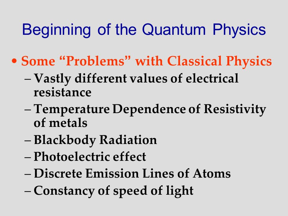 Beginning of the Quantum Physics